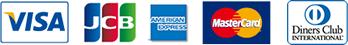 クレジット会社:visa,jcb,american express,mastercard,diners club